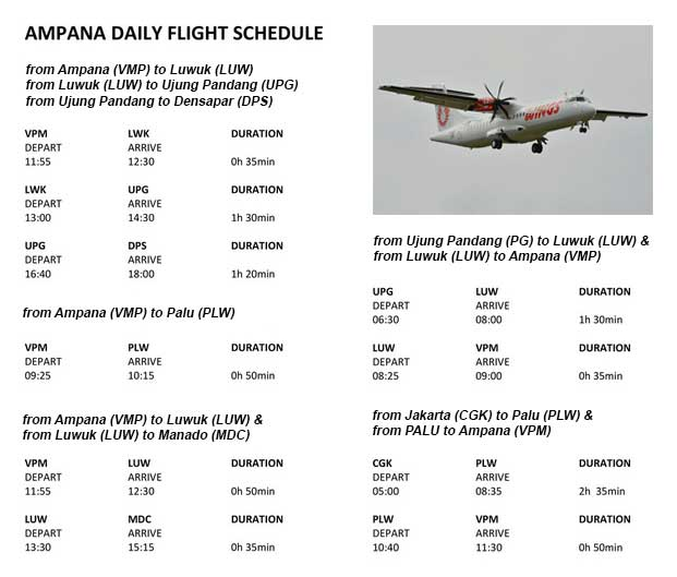 Wings Air Flight Schedule - Ampana
